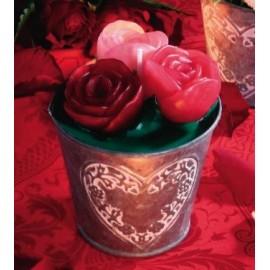Kit bougie seau avec des roses
